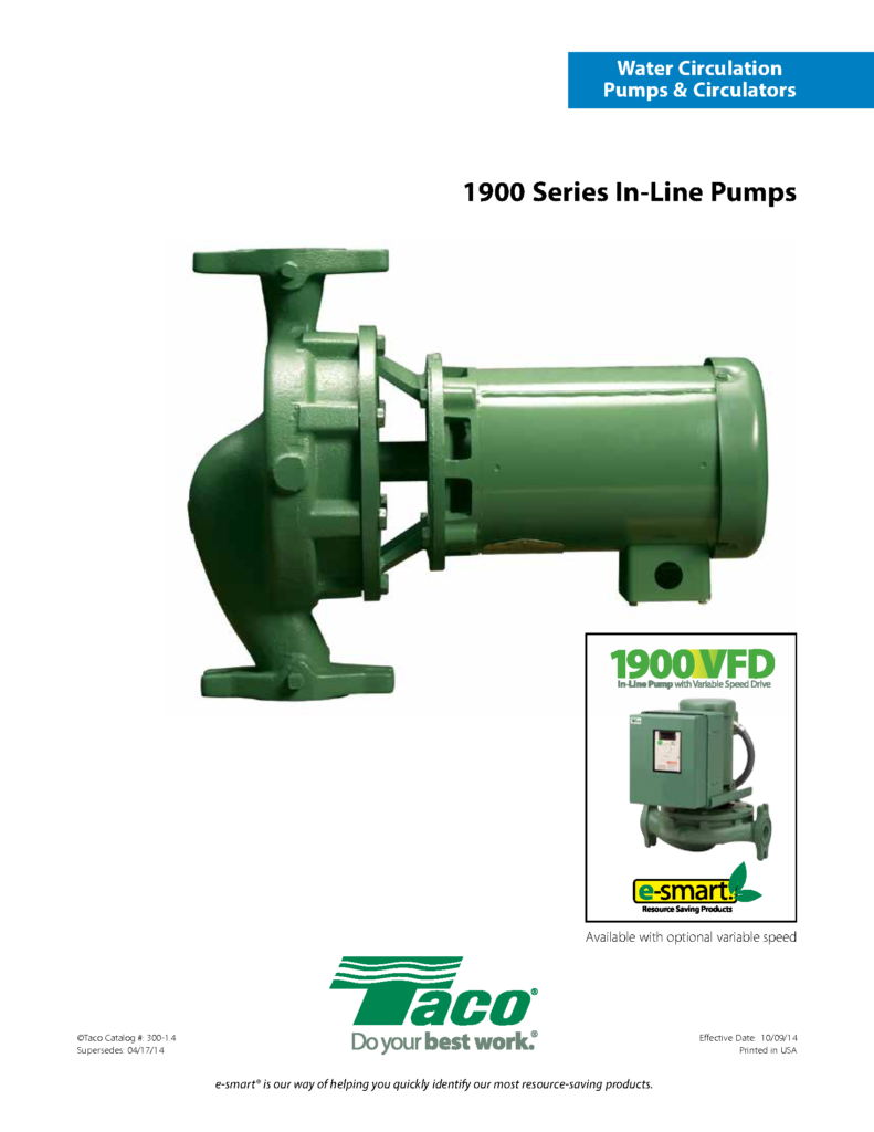1900 VFD Series Close Coupled In-Line Pumps
