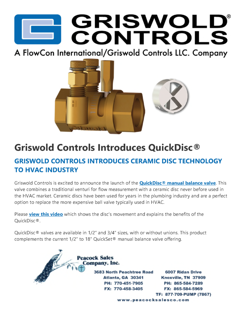 Griswold Controls Introduces QuickDisc