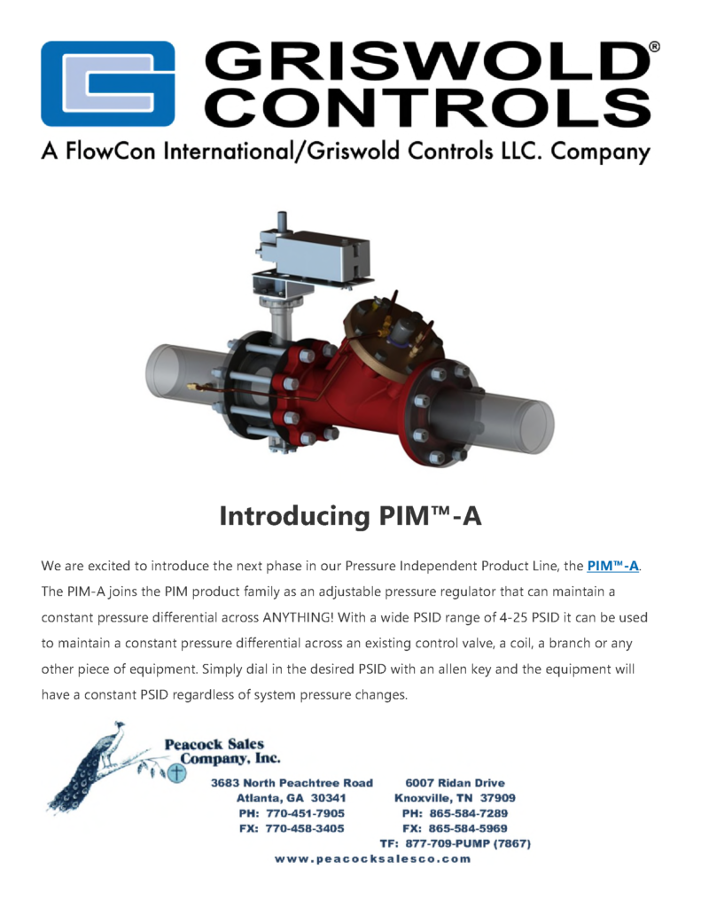 Griswold Introduces PIM-A Pressure Independent Control Valves