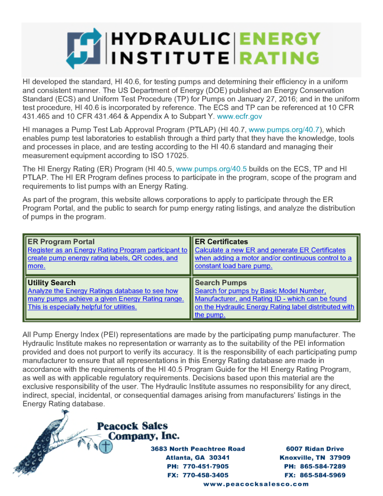 Hydraulic Institute Energy Rating Report