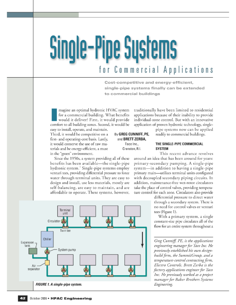Single Pipe Systems for Commercial Applications