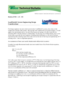 LoadMatch System Engineering Design Considerations